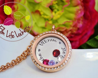 Personalised floating locket with crystals and charms UK hand stamped