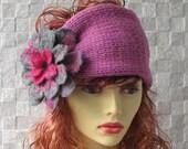 Hand Knit Ladies Hat Headband for women Ear Warmer Head Warmer Pink Felt Brooch