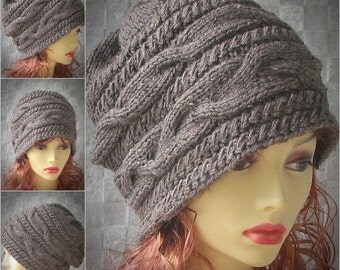 Knitted Hats for women, cable women hat, knit slouchy hat oversized slouchy chunkie beanie