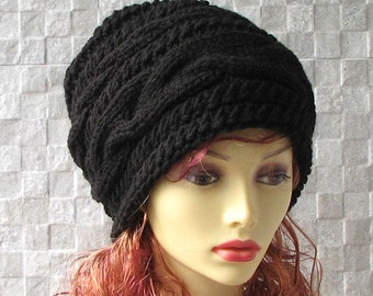 The Black Beanie, Slouchy Beanie, Women Beanie, Parisian style, Winter Hat