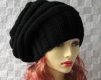 Womens Knit Hat Slouchy Hat Slouchy Women Hat Men Slouch Beanie Black Women Hat Oversized Hat Chunky Knit Hat Beanie