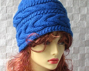 Women's Knit Hats Women's BLUE Winter Hat Women's Hats Hand Knit Hat Women Knit Hat Woman Cable Knitted Hat Slouchy Beanie Women Knit Hat