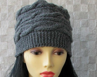 Skull Caps Beanies Hand knitted ladies slouchy beanie Knit hat for women