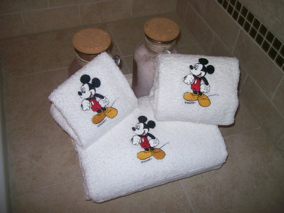 Mickey Mouse 3 Piece Embroidered Bath Towel Set Personalized