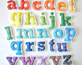 Magnetic/Plush SCRIBBLE Alphabet in Rainbow Gradient - Made-To-Order