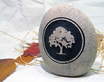 Tree Silhouette Engraved Shelf Sitting Stone With Optional Personalization