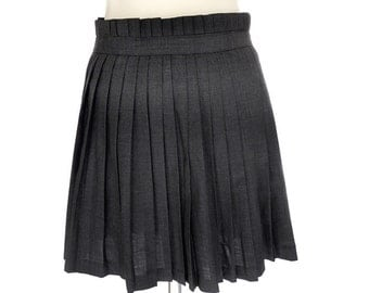 Vintage Mini Skirt,Wool Pleated Gray Skirt ,French Designer Votre Nom Skirt , Vintage Pleated Wrap-around Skirt,Small Wool Skirt