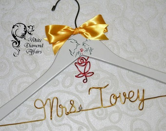 Beauty & the Beast Themed Wedding Hanger, Disney Princess Wedding, Personalized Bridal Hanger, Gift Wire