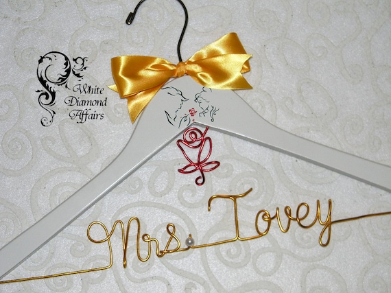 Personalised Wedding Gifts Disney : ... Hanger, Disney Princess Wedding, Personalized Bridal Hanger, Gift Wire