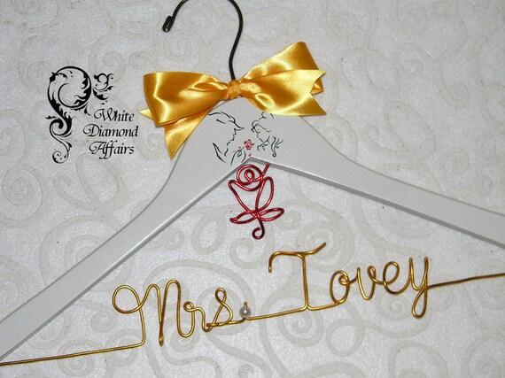... Hanger, Disney Princess Wedding, Personalized Bridal Hanger, Gift Wire