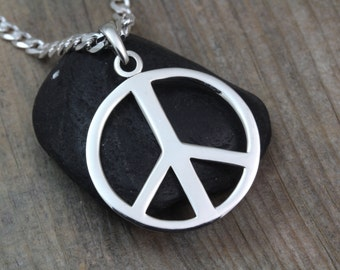 Sterling silver Large Peace Sign Necklace, Mens Peace Necklace, Peace sign for man. Men Necklace, Choose Chain, Peace sign Jewelry. 1785