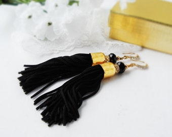 Free Shipping,Tassle Earrings, Black Tassle Earrings with Gold Plated Bead Caps and Rhinestone Hook Earwire