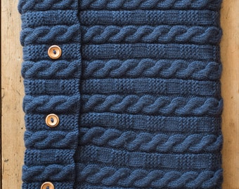 THEO - Knitted Laptop Bag - Wool & Cashmere - Navy Blue -  ready to ship - Free shipping worldwide