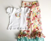 Boutique style ruffled pants with appliqué bird shirt • Ruffled pants • girls set