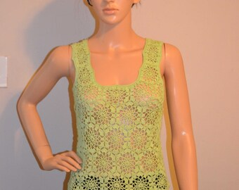 Hand Made ,Green, Sweet Crocheted Tanktop - Sizes 0 to 20