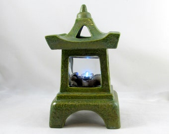 Green Pagoda Candle Holder Center Piece or Garden Decoration-11 inches tall with lid - hand painted, indoor, outdoor, Japanese