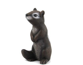 Ceramic Small Garden Chipmunk- 5.5 inches - hand painted, indoor or outdoor, lawn or garden
