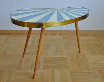 Rare Original Mid Century Plant Stand. Striped. Baby blue and white. Plant stand.  1950s. Small Table. Germany. 1012