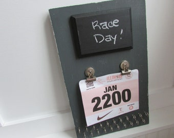 Vertical Running Board - Running Bib and Medal Holder - Runners Gift, Grey Distressed Running Board, Chalkboard Sign