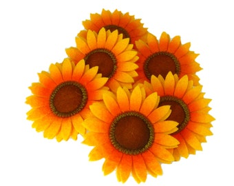 "6 Large Sunflower Hair Clip, 3"" Flower, Pin Up, Updo, Party Favors, Girls/ Women's Hair Accessories, Summer Beach Party"