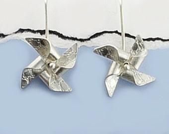 Spinning Pinwheel Earrings, Silver Pinwheel Earrings, Pinwheels, Hand Folded Silver Pinwheel Earrings, Origami Pinwheels, Sterling Silver