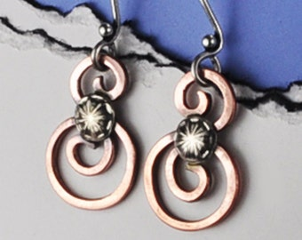 Copper and Silver Earrings, Spiral Copper Earrings, Mixed Metal Earrings, Copper Earrings, Copper and Sterling Silver Earrings, Spirals