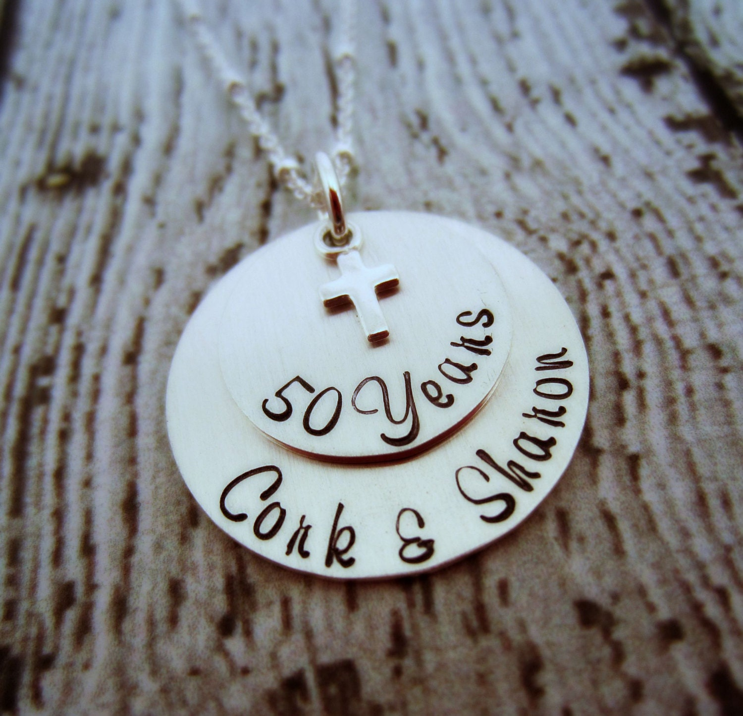 Unique Golden Wedding Anniversary Gifts: 50th Anniversary Necklace Personalized Anniversary Gift