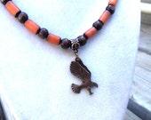 Men's Organic Beaded Necklace, Copper Eagle Pendant, Men's Jewelry, Organic Jewelry, Vegan, Vegetarian, Eco-Friendly, Unisex Jewelry