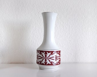 50s Ceramic Vase, White and Deep Red, Vintage Art Pottery German Vase, Made in Germany, Ornamented, Ornaments, Scandinavian Design, Nordic
