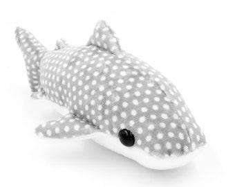Grey Whale Shark Stuffed Animal, Plush Toy, Whale Shark Plushie, Whale Softie