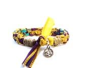 Om Silk Ribbon Bracelet Bohemian Ohm Aum Namaste Handmade Hippie Yoga Jewelry Indie Boho Earthy Ooak Hemp Yogi Gift For Her Christmas