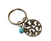 Tree of LIfe Keychain Bronze Sale Brass Bag Charm Turquoise  Keychain Unique Stocking Stuffer Christmas Party Favor Gift for Her Wisdom