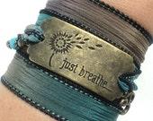 Just Breathe, Silk Wrap Bracelet, Yoga, Jewelry, Bohemian, Om Charm, Turquoise, Enlightenment, Namaste, Gift For Her, Christmas, Stocking