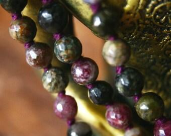 Tourmaline 108 Mala Beads Gemstone Mala Necklace Japa Mala Prayer Beads Meditation Jewelry Spiritual Tool Mantra Mala Knotted Gemstone Mala