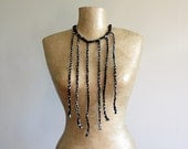 Plaited fabric necklace, tribal bib, black and grey, upcycled, recycled, repurposed, eco friendly statement, bohemian fashion for her.