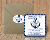 Custom Coasters - Optional Craft Paper Envelopes & Stickers - Anchor Engagement party Invitations  - Stock the bar engagement couple shower