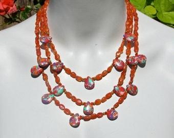 Orange Statement Necklace, Bib Necklace, Rainbow Turquoise, Orange Carnelian, Triple Strand, Colourful Necklace  997