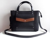 Black Brown Wool Felt Genuine Leather Handbag Bag