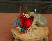 Autumn Burgundy Rose Grooms Boutonniere, Woodland Wedding, Rustic Fall Boutonniere, Autumn Boutonniere, Rose and Fall Foliage Boutonniere