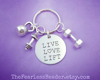 Live Love Lift Keychain, Choose Your Charm, Weight Plate, Kettlebell, Dumbbell, Fitness Keychain, Gym Motivation, Trainer Gift, Weightlifter