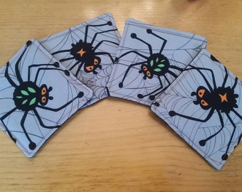 Halloween Spider Coasters, Set of 4, Halloween Decor, Gift for the Arachnid Lover in Your Life
