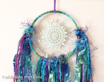 Dreamcatcher wall hanging, small mermaid green, blue, purple doily dreamcatcher, peacock, yarn and ribbon tassels, hoop art, hoop wall decor