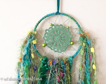 Dreamcatcher wall hanging, small green doily dreamcatcher, yarn and ribbon tassels, hoop art, hoop wall decor, wall hanging