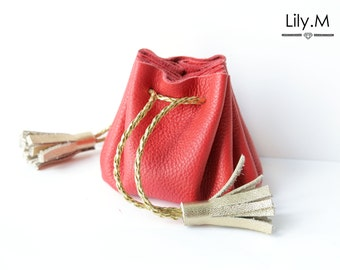 Leather purse and tassel Night Poppy and golden AYA Lily.M