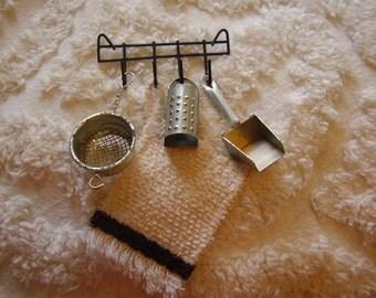 Miniature Vintage Kitchen Tool Rack/Tools