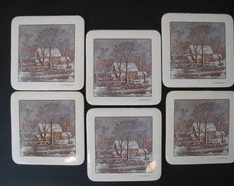 Vintage Country Scene Cork Backed Drink Coasters, Set of Six