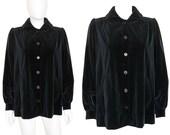 Yves Saint Laurent YSL Vintage 1960s 1970s Velvet Jacket Blazer Black US Size 4-6 XS-Small