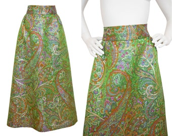 Custom-Made 1960s Vintage Metallic Brocade Maxi Evening Skirt US Size 6 Small