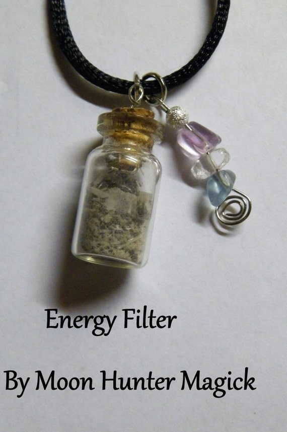 Empathy Shield Energy Filter Amulet Charm Bottle Necklace 20+ yrs exp