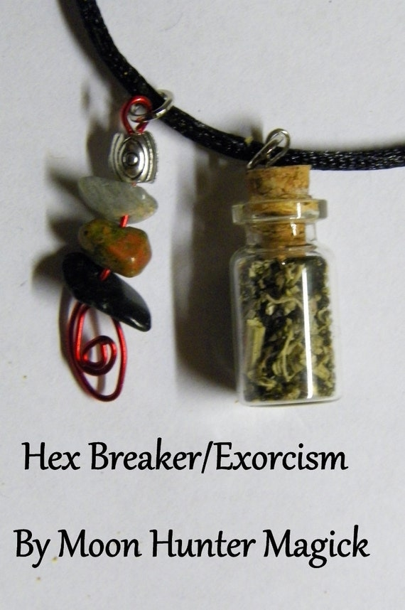Hex Breaker Exorcism Uncrossing Charm Bottle Amulet Necklace Pagan Wicca Reiki Ritual